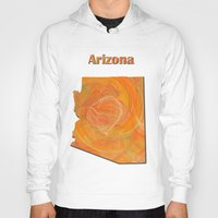 arizona Hoodies featuring Arizona Map by Roger Wedegis
