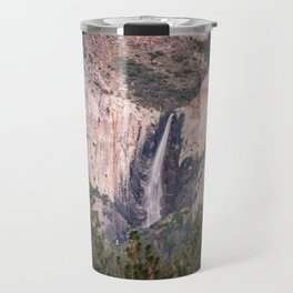 Sunset on Bridalveil Fall in Yosemite National Park Travel Mug