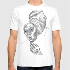 Mask 01 MEDIUM White Mens Fitted Tee