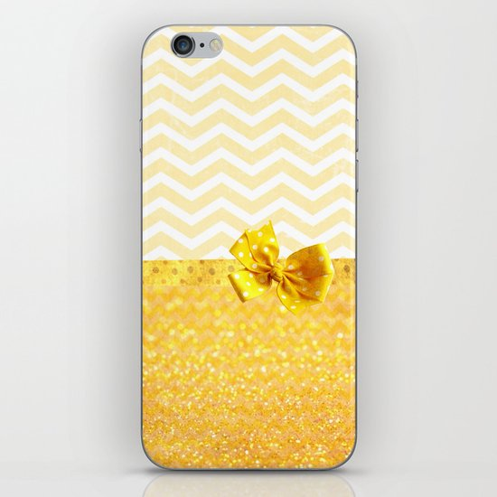 Yellow chevron & pois - for iphone iPhone & iPod Skin