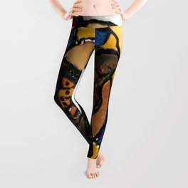Stained Glass Spring Monarch Butterfly  Leggings