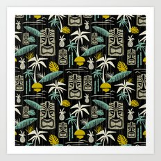 Island Tiki - Black Art Print
