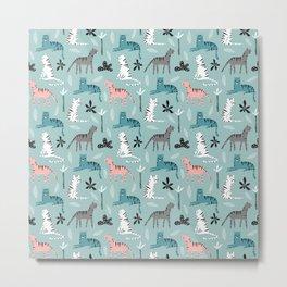 Tigers Animals Prints patterns Metal Print
