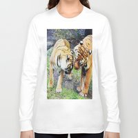 tigers Long Sleeve T-shirts featuring Tigers by Irene Jaramillo