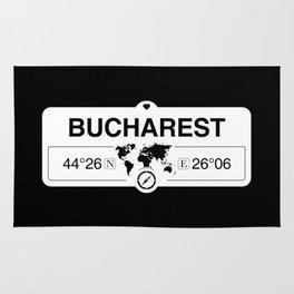 Bucharest Romania with World Map GPS Coordinates Rug