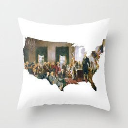 USA MAP The Signing of the Constitution of the United States Throw Pillow