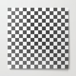 Gingham Dark Slate Grey Checked Pattern Metal Print