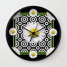 Modern Deco Style Shasta Daisies Black Art Wall Clock
