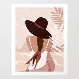 Boho beach art, Woman with wide brim hat on the beach, Beach abstract art, Tropical print, Summer Art Print