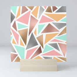 Modern Rose Gold Mint Metallic Triangles Geometric Mini Art Print