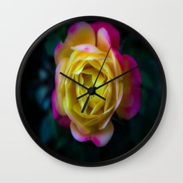 Foggy Rainbow Rose Wall Clock