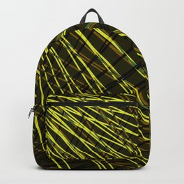 Many rays of golden light with symmetrical bright waves on black. Backpack