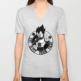 DBZ, EAT SLEEP TRAIN FIGHT , VEGETA Unisex V-Neck
