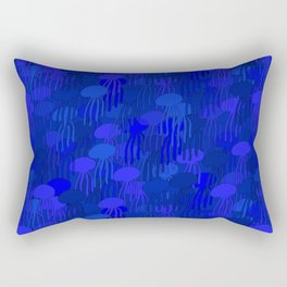 Jellyfish Blue Rectangular Pillow
