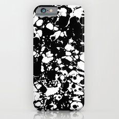 Black and white contrast ink spilled paint mess iPhone 6s Slim Case