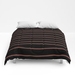 Inspired by Dunn Edwards Spice of Life DET439 Hand Drawn Horizontal Lines on Black Comforters