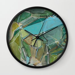 Fracturing Emeralds Wall Clock