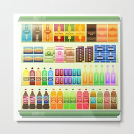 supermarket shelf products snacks Metal Print