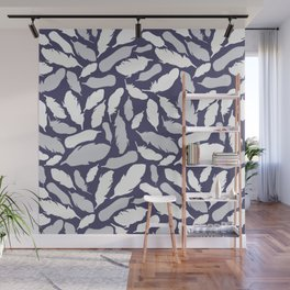 Feather Pattern Blue Wall Mural