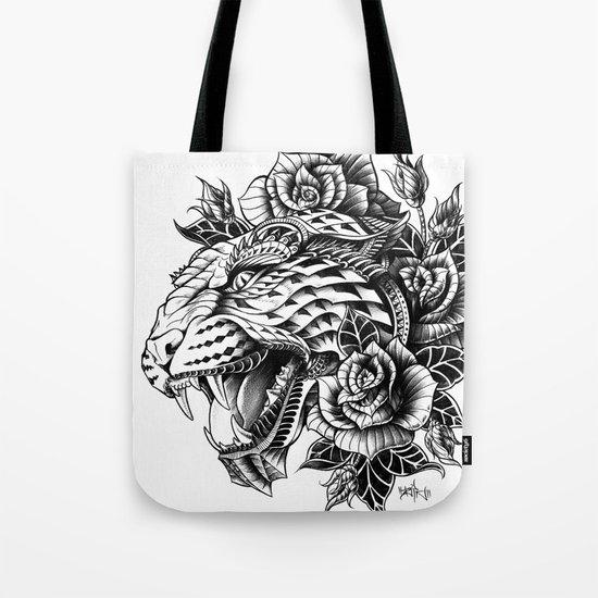 Ornate Leopard Black & White Variant Tote Bag