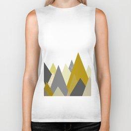 Mountains Mustard yellow Gray Neutral Geometric Biker Tank