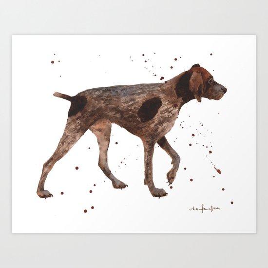 German Short-haired pointer, dog art, dog painting Art Print