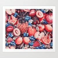 Watercolour Fruit - Cobalt/Carmine Art Print
