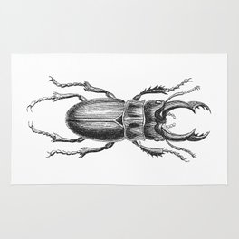 Vintage Beetle black and white Rug