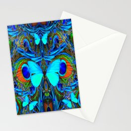 ELECTRIC NEON BLUE BUTTERFLIES & BLUE PEACOCK FEATHERS Stationery Cards