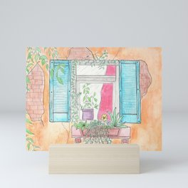 Casita Bonita Floral Window House Watercolor Print Mini Art Print