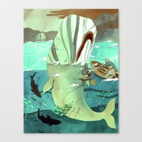 dick Canvas Prints featuring Moby Dick by Mary Slumber