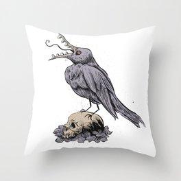 Black Bird on Skull Throw Pillow