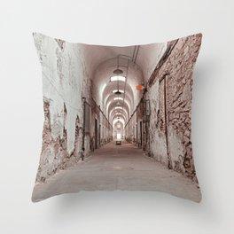 Crimson Prison Corridor Throw Pillow