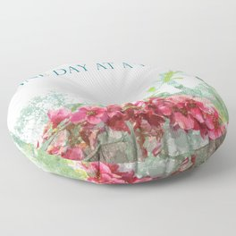 One Day at a Time Fence Flowers Floor Pillow