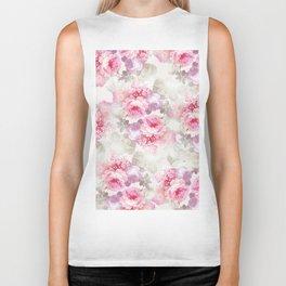 Elegant blush pink lavender ivory romantic roses floral Biker Tank