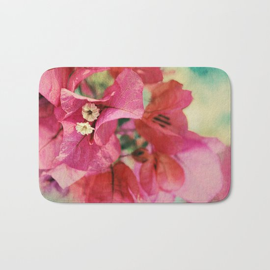 Vintage Bougainvillea Flowers in pink & green with textures Bath Mat