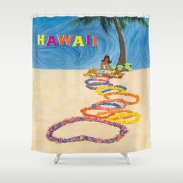 Hawaii Vintage Retro Travel Poster Shower Curtain