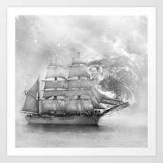 Sailing uncharted waters Art Print