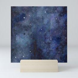 Galaxy Nebula Watercolor Night Sky Stars Outer Space Blue Texture Mini Art Print