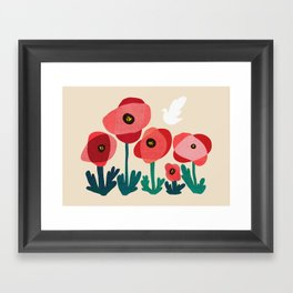 Poppy flowers and bird Framed Art Print