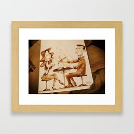 The Artist and his Model - Coffee Art Framed Art Print