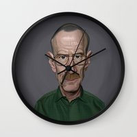 celebrity Wall Clocks featuring Celebrity Sunday ~ Bryan Cranston by rob art | illustration
