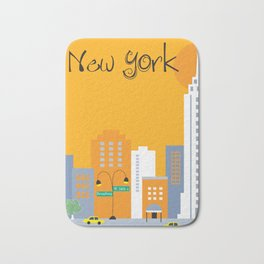New York City, New York - Skyline Illustration by Loose Petals Bath Mat