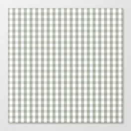 Desert Sage Grey Green and White Gingham Check Canvas Print