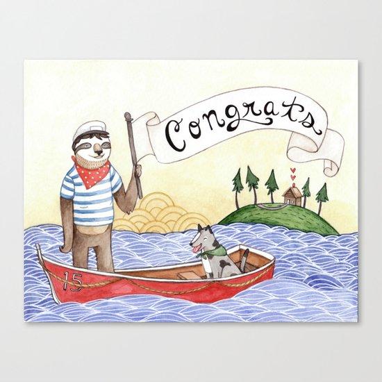 Sloth Congrats Canvas Print