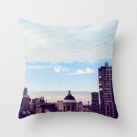 skyline Throw Pillows featuring skyline by Maria Ostapchuk