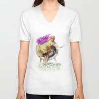 butt V-neck T-shirts featuring Lucky Butt by melted