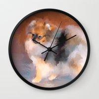 pomeranian Wall Clocks featuring Tiny Pomeranian by Jai Johnson