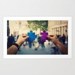 connecting puzzle pieces Art Print