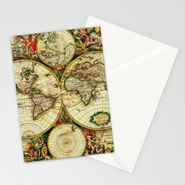 Ancient World Map 1689 Stationery Cards